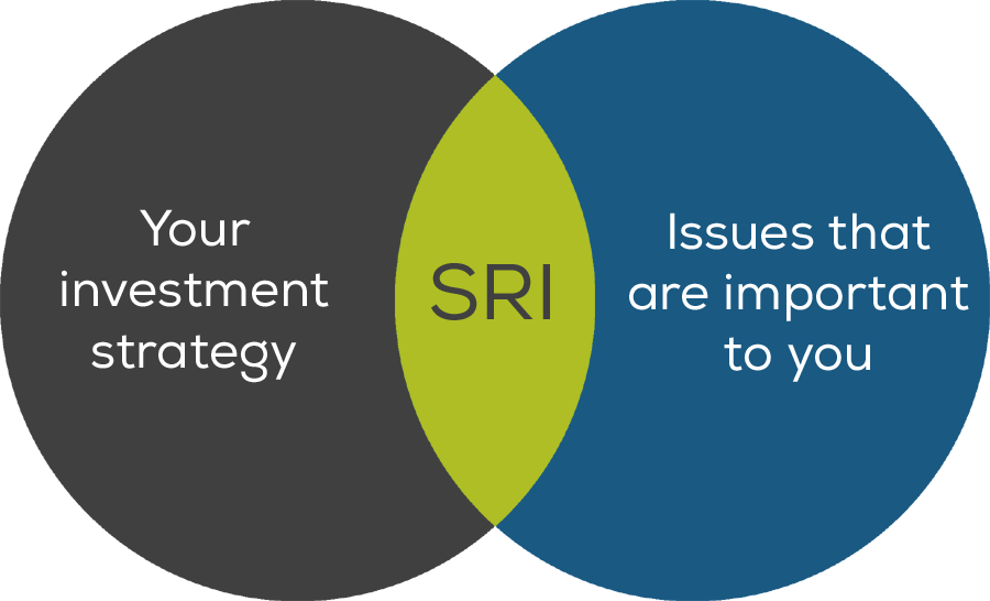 Diagram demonstrating how SRI integrates your investment strategy with issues that are important to you